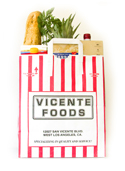 Vicente Foods Red & White Striped Grocery Bag